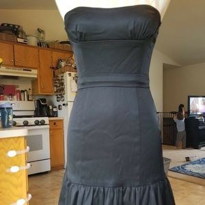 Strapless Fitted Cocktail Dress Ruffle Tulle Hem